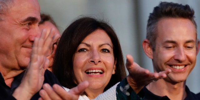 Paris Mayor Anne Hidalgo gesturing after her victorious second round of the municipal election Sunday.