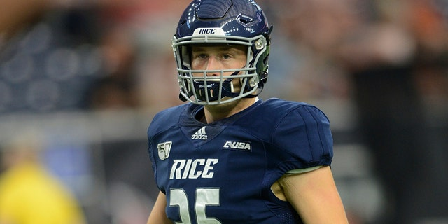 Luke Armstrong plays for Rice. (Photo by John Rivera/Icon Sportswire) (Icon Sportswire via AP Images)