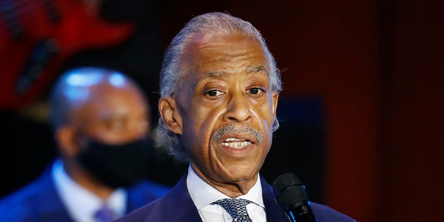 The Rev. Al Sharpton speaking at the memorial service for George Floyd at North Central University in Minneapolis on Thursday. (AP Photo/Julio Cortez)