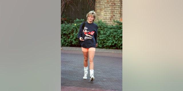 Princess Diana leaving Chelsea Harbour Club, London in November 1995.