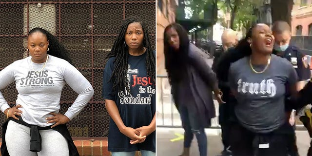 Pro-life advocates Bevelyn Beatty and Edmee Chavannes,co-founders of At the Well Ministries, pictured at theMargaret Sanger Planned Parenthood Center in Manhattan where they were handcuffed on May 30.