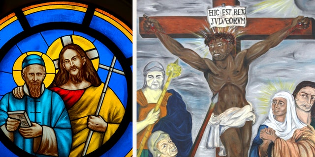 "On the right, a stained glass window, produced in 2008, featuring Jesus and Saint Joseph Freinademetz. And on the left, Ronnie Harrison's painting ""Black Christ,"" first unveiled in 1962 in South Africa."