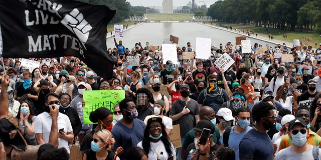 In this June 6, 2020, file photo, demonstrators protest at the Lincoln Memorial in Washington, over the death of George Floyd, a Black man who was in police custody in Minneapolis. Black Lives Matter Global Network Foundation, the group behind the emergence of the Black Lives Matter movement, has established a more than $12 million fund to aid organizations fighting institutional racism in the wake of the George Floyd protests. (AP Photo/Alex Brandon, File)