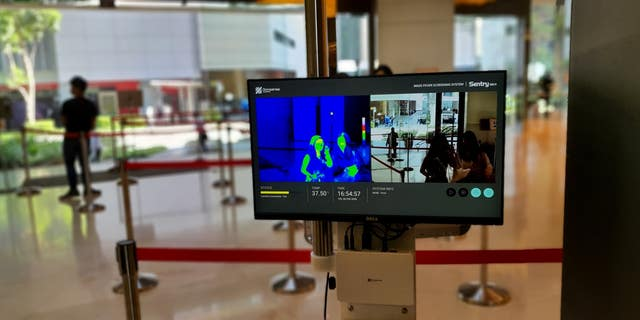 Omnisense Sentry MK4 fever screening device set up in a bank lobby [Omnisense]