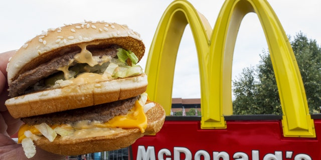 A McDonald's Big Mac hamburger and the company's logo are seen in Centreville, Va., Aug. 10, 2015. (Getty Images)