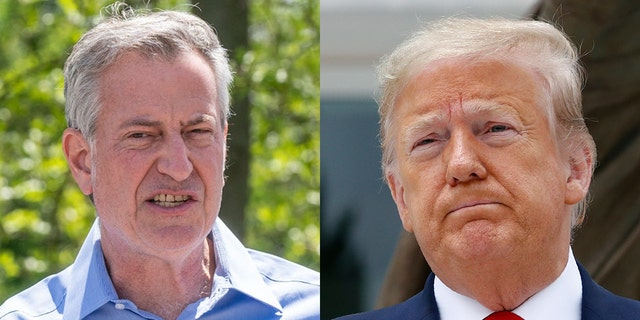 New York City Mayor Bill de Blasio, left, is ending the Trump Organization's skating-rink contracts with the city a month early, a report says.