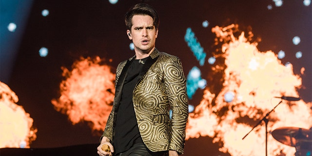 Brendon Urie of Panic at the Disco performs during day 4 of Rock In Rio Music Festival