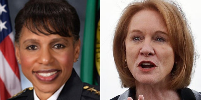 Police Chief Carmen Best, left, and Mayor Jenny Durkan, right