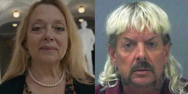 Carole Baskin (엘) and Joe Exotic (아르 자형) were the focus of the doc series 'Tiger King.'
