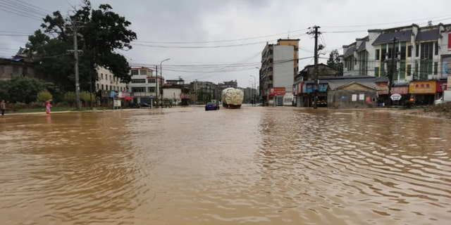Flooding was reported in Zhushan District, Jingdezhen City, Jiangxi Province as severe storms left behind damage in central China.
