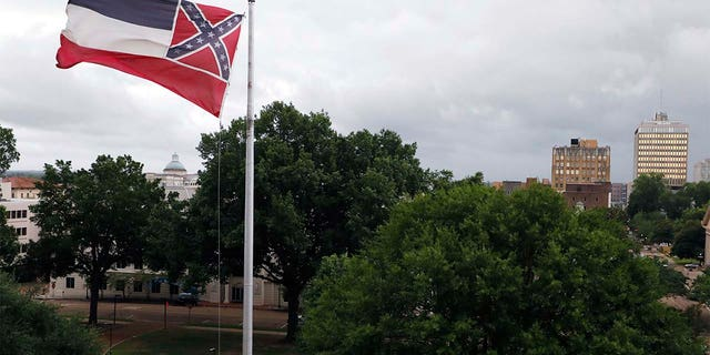 A Mississippi state flag outside the Capitol in Jackson last week.