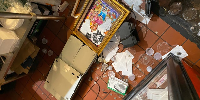 Destruction to PriaVanda Chouhan's Desi Valli East Village restaurant after night of protests in New York City.
