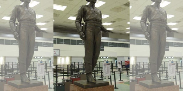Dallas Love Field removed its statue of a Texas Ranger on Thursday.