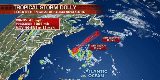 Tropical Storm Dolly forms in north Atlantic, expected to be short lived
