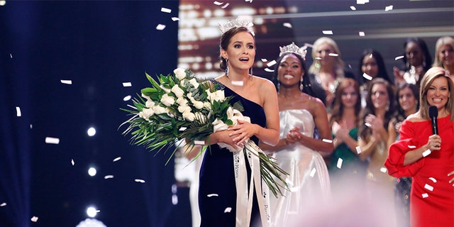 Pictured: (l-r) Camille Schrier, Miss America 2020; Nia Franklin, Miss America 2019; Kit Hoover at Mohegan Sun in Uncasville, CT on Thursday, December 19, 2019.