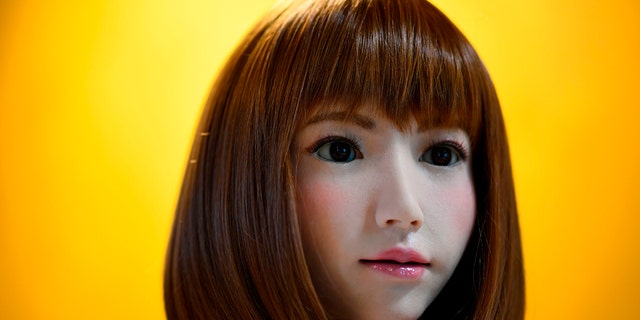 A robot created by Japan's Hiroshi Ishiguro Laboratories called Erica is presented at the IROS 2018 International Conference on Intelligent Robots