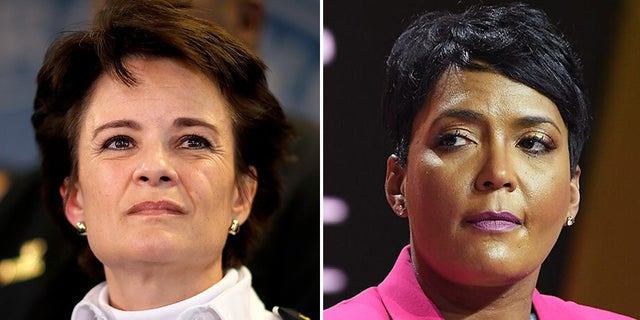 Atlanta police Chief Erika Shields, left, stepped down from the position Saturday. Atlanta Mayor Keisha Lance Bottoms, right, sought a police officer's termination in response to a fatal shooting Friday night.