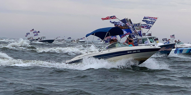 """A """"TrumpStock"""" boat parade shows the support for the incumbent president in the Empire State."""