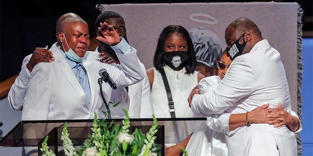 LaTonya Floyd speaks during the funeral for her brother, George Floyd, on Tuesday, June 9, 2020, at The Fountain of Praise church in Houston. (Godofredo A. Vásquez/Houston Chronicle via AP, Pool)