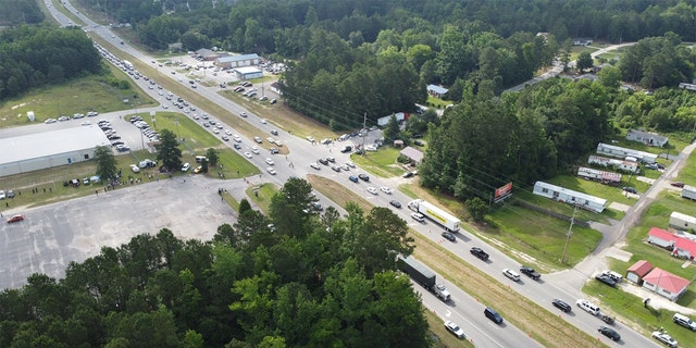 Heavy traffic was reported along US 401 for George Floyd public viewing in Raeford, N.C.
