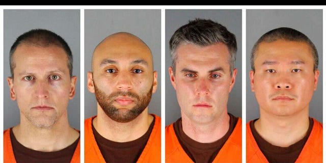 This combination of photos provided by the Hennepin County Sheriff's Office in Minnesota shows Derek Chauvin, from left, J. Alexander Kueng, Thomas Lane and Tou Thao. Chauvin is charged with second-degree murder of George Floyd, a black man who died after being restrained by him and the other Minneapolis police officers on May 25. Kueng, Lane and Thao have been charged with aiding and abetting Chauvin. (Hennepin County Sheriff's Office via AP)