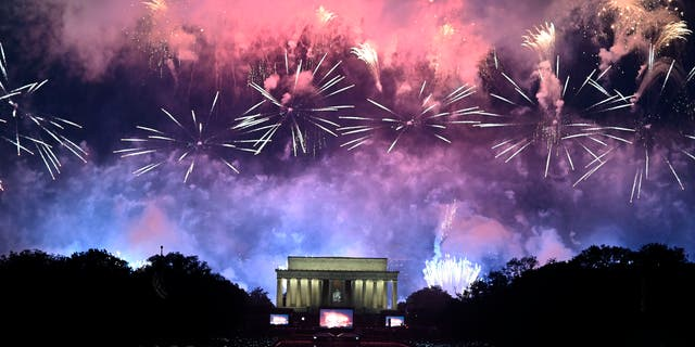 Fireworks explode over the Lincoln Memorial during the Fourth of July celebrations in Washington, DC, July 4, 2019.