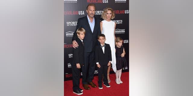 Actor Kevin Costner and wife Christine Baumgartner and their children, Grace Avery Costner, Hayes Logan Costner and Cayden Wyatt Costner, in 2015.