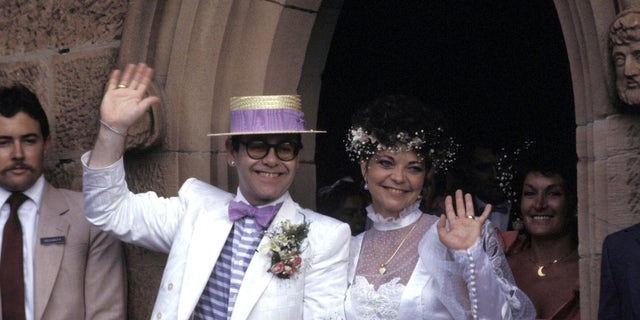 Elton John and Renate Blauel at St. Mark's Church on February 14, 1984. (Photo by Patrick Riviere/Getty Images)