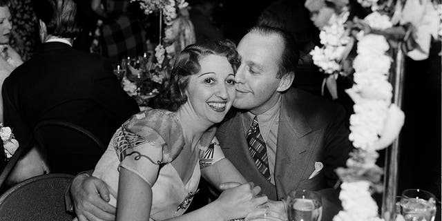 Comedian Jack Benny and wife Mary Livingston attend an event in Los Angeles, California, circa 1940.