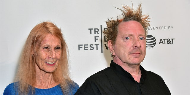 John Lydon, aka Johnny Rotten and his wife Nora Forster, attends the 2017 Tribeca Film Festival - 'The Public Image Is Rotten' screening at Spring Studios on April 21, 2017, in New York City.