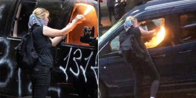 Images included in the criminal complaint show a masked woman torching vehicles. (DOJ)