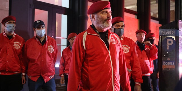 Curtis Sliwa, the founder and CEO of the Guardian Angels, walks with other Guardian Angels on a safety patrol in lower Manhattan following nights of looting in the area after the death of George Floyd on June 03, 2020 in New York City. (Spencer Platt/Getty Images)