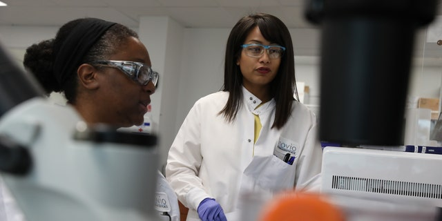 INOVIO scientists at work in the laboratory. (Photo courtesy of INOVIO Pharmaceuticals)