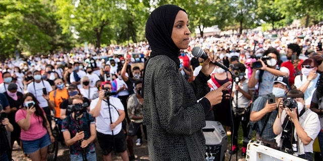 Rep. Ilhan Omar (D-MN) speaks to a crowd gathered for a march to defund the Minneapolis Police Department on June 6, 2020, in Minneapolis, Minnesota. The march commemorated the life of George Floyd who was killed by members of the MPD on May 25. (Photo by Stephen Maturen/Getty Images)