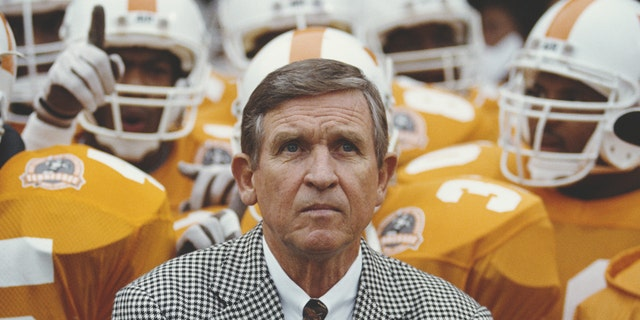 Johnny Majors in a 1990 file photo at the Neyland Stadium in Knoxville, Tenn. (Photo by Rick Stewart/Allsport/Getty Images)