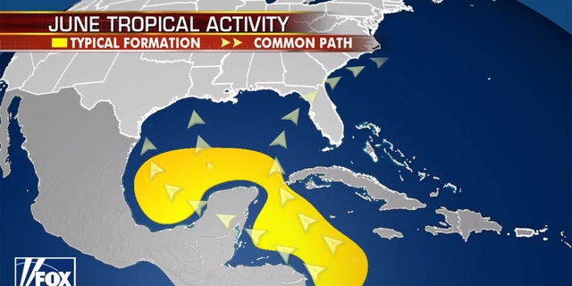 The area where tropical activity is likely in the month of June.