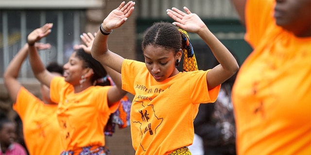 Members of the parade perform during the 48th Annual Juneteenth Day Festival on June 19, 2019 in Milwaukee, Wis. (Dylan Buell/Getty Images for VIBE)