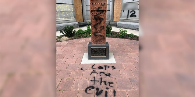 Sculpture remembering the victims of the Armenian Genocide was vandalized during protests in Denver.