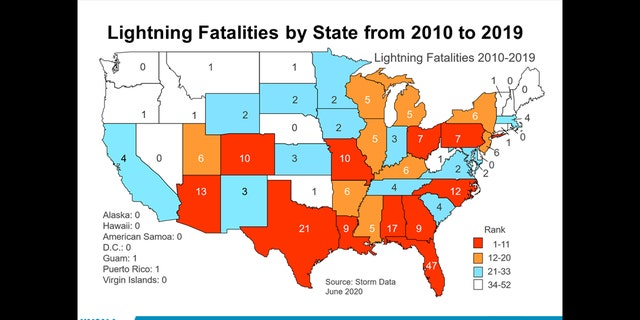 A breakdown of lightning fatalities across the U.S. from 2010 to 2019.
