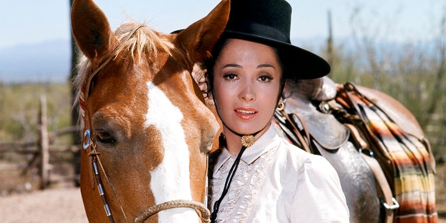'High Chaparral' -- 'To Stand for Something More' Episode 6 -- Pictured: Linda Cristal as Victoria Montoya Cannon -- (Photo by: NBCU Photo Bank/NBCUniversal via Getty Images)