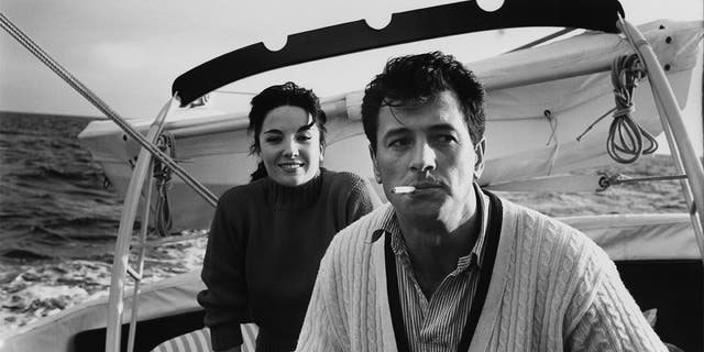 Actors Rock Hudson (1925 - 1985) and Linda Cristal on board a yacht, Feb. 18, 1960. (Photo by Photoplay/Archive Photos/Getty Images)