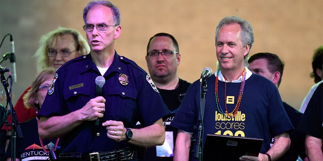 Louisville Police Chief Steve Conrad speaks during the 2016 Kentuckiana Pride Festival on June 17, 2016 in Louisville, Ky.
