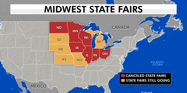 A map of Midwestern states that have opted to cancel their state fairs.