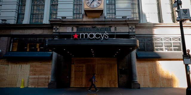 A Macy's location in Manhattan's Herald Square is covered with boards to prevent any damages from potential George Floyd protests.