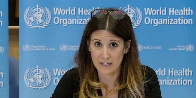 The WHO's Maria Van Kerkhove attending a virtual news briefing on COVID-19 in April. (AFP via Getty Images)