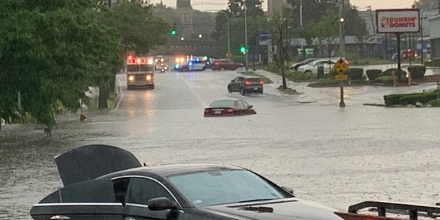 Severe flooding was reported in Norwood, Mass., on Sunday as heavy thunderstorms caused flash flooding.