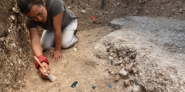 Part of the Aguada Fenix site being excavated by Melina Garcia.