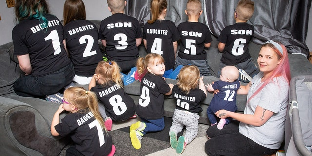 As the parent of eleven children, Nicole Sutton made shirts with numbers on them to help keep track of each of her children.