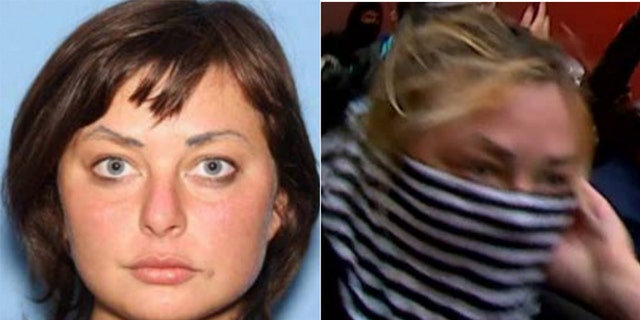 The criminal complaint said Channon's eyebrows helped police link her to a masked woman shown lighting fires in security video. (DOJ)