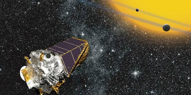 Artist's conception of Kepler telescope observing planets transiting a distant star (Credit: NASA Ames/W Stenzel).